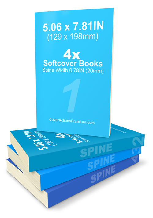 5.06 x 7.81 Paperback Book Mockup / Cover Actions